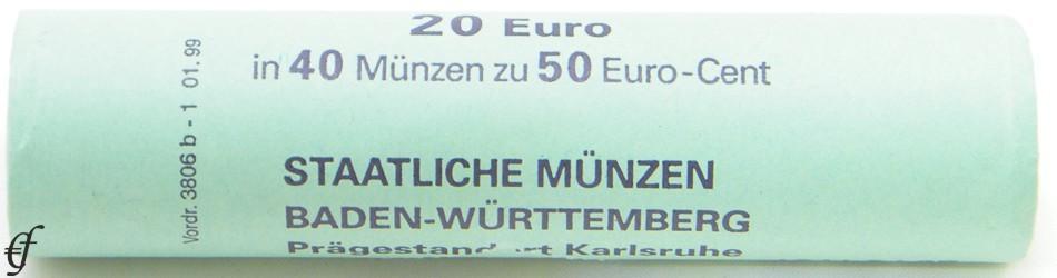 Deutschland Rolle 50 Cent 2002 G Karlsruhe Eurofischer