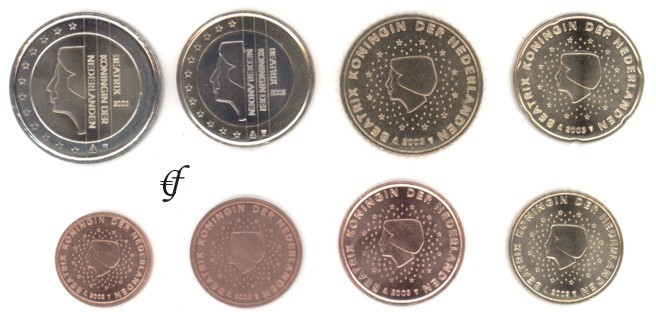 Niederlande Alle 8 Münzen 2003 Eurofischer
