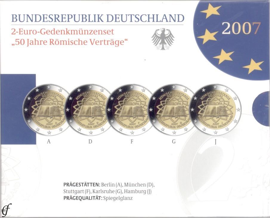 2 Euro Gedenkmünzen Set Deutschland 2007 Römische Verträge Pp