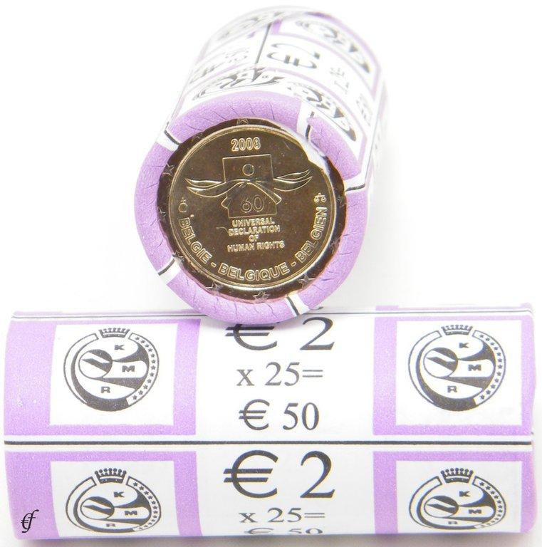 rolle 2 euro gedenkm nzen belgien 2008 menschenrechte. Black Bedroom Furniture Sets. Home Design Ideas