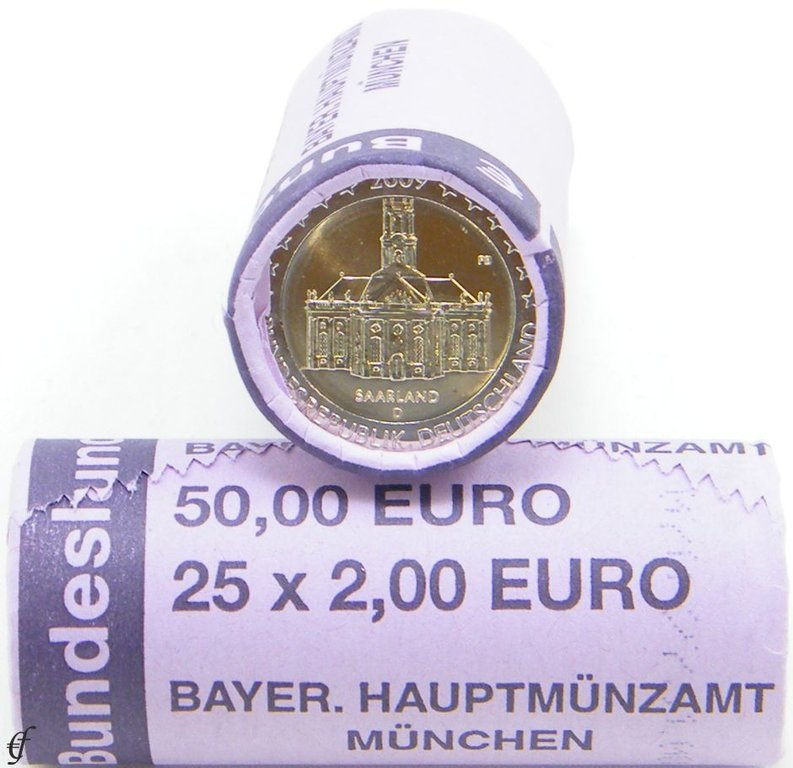 rolle 2 euro gedenkm nzen deutschland 2009 d ludwigskirche eurofischer. Black Bedroom Furniture Sets. Home Design Ideas