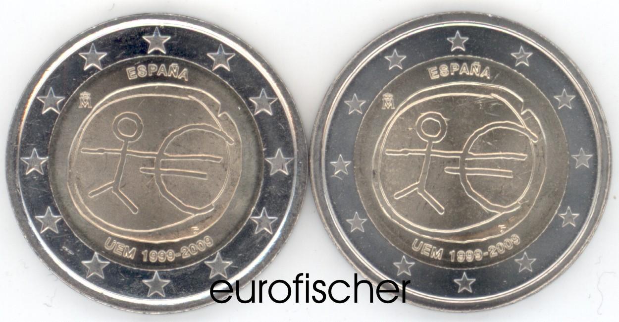 2 Euro Große Sterne Gedenkmünze Spanien 2009 Wwu Eurofischer