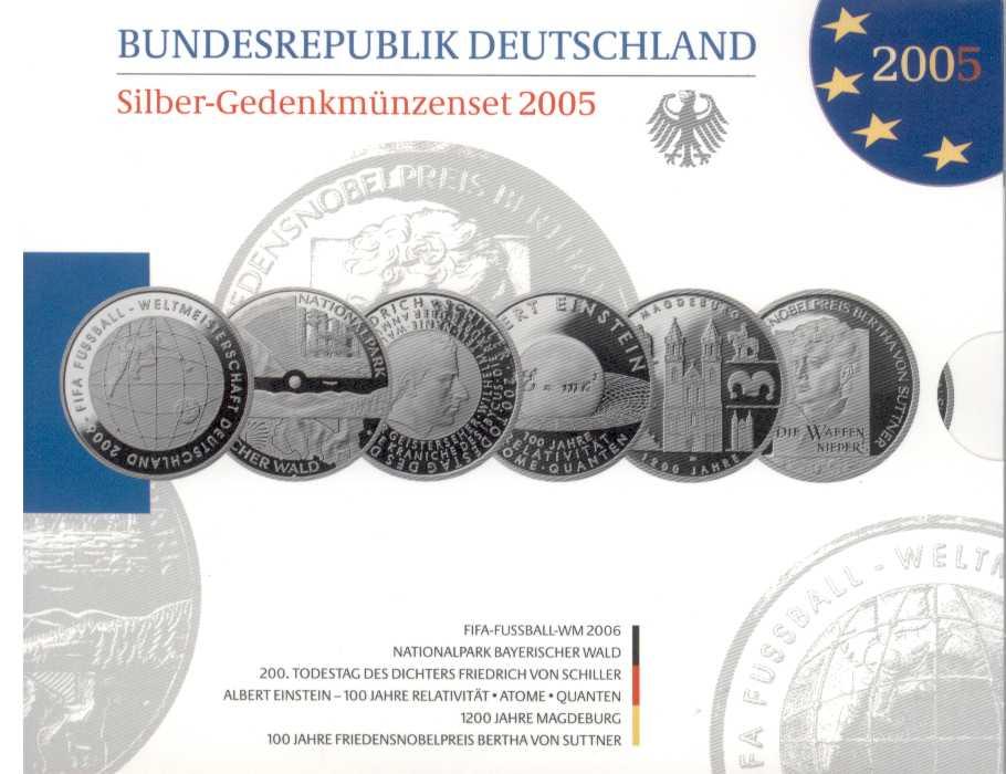 Deutschland Silber Gedenkmünzenset 2005 Pp Eurofischer