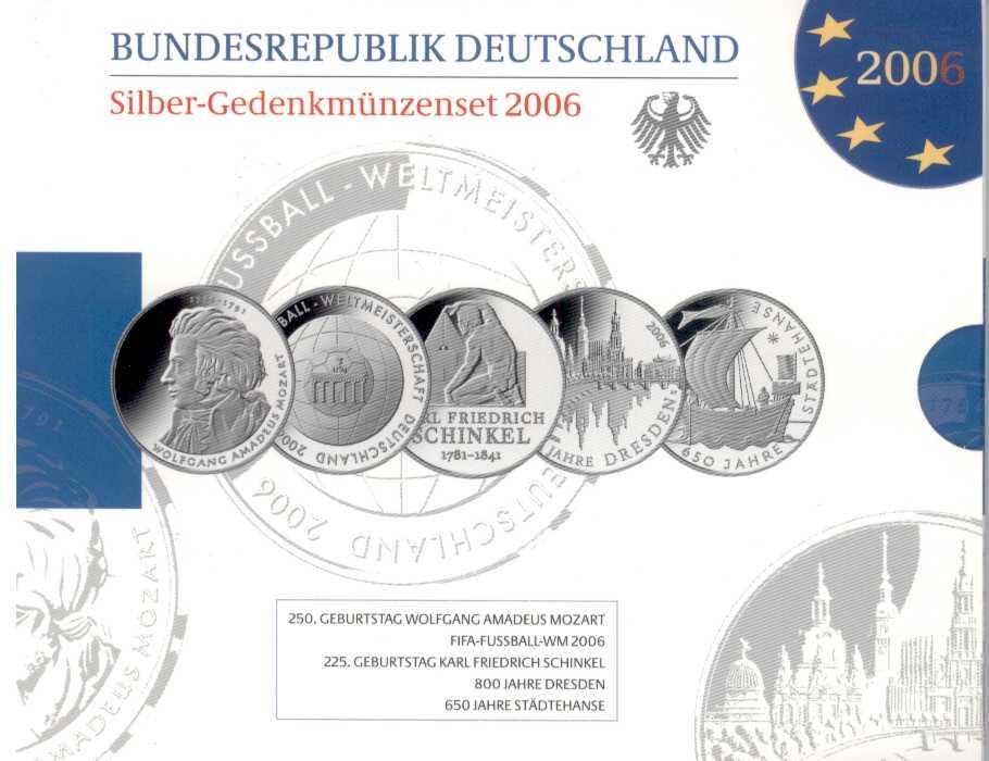 Deutschland Silber Gedenkmünzenset 2006 Pp Eurofischer