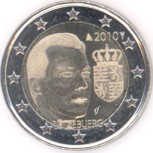 2 Euro Gedenkmünze Luxemburg 2010 Wappen Eurofischer