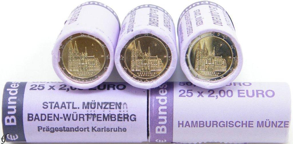Alle 5 Rollen 2 Euro Deutschland 2011 Adfgj Kölner Dom Eurofischer
