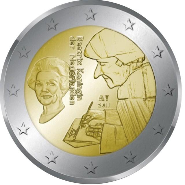 2 euro gedenkm nze niederlande 2011 erasmus eurofischer. Black Bedroom Furniture Sets. Home Design Ideas