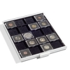 Coin Box QUADRUM 20 squarecompartments up to 50 mm ø, smoke grey, con black drawer