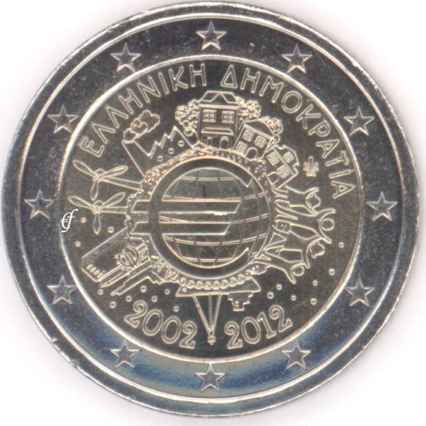 rolle 2 euro gedenkm nzen griechenland 2012 10 jahre euro eurofischer. Black Bedroom Furniture Sets. Home Design Ideas