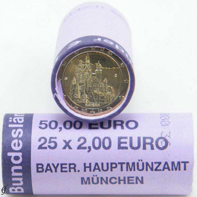rolle 2 euro deutschland 2012 d bayern eurofischer. Black Bedroom Furniture Sets. Home Design Ideas