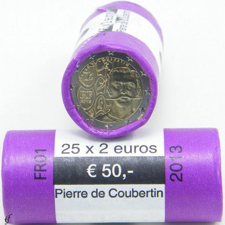 rolle 2 euro gedenkm nzen frankreich 2013 coubertin. Black Bedroom Furniture Sets. Home Design Ideas