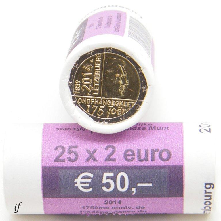 rolle 2 euro gedenkm nzen luxemburg 2014 unabh ngigkeit eurofischer. Black Bedroom Furniture Sets. Home Design Ideas