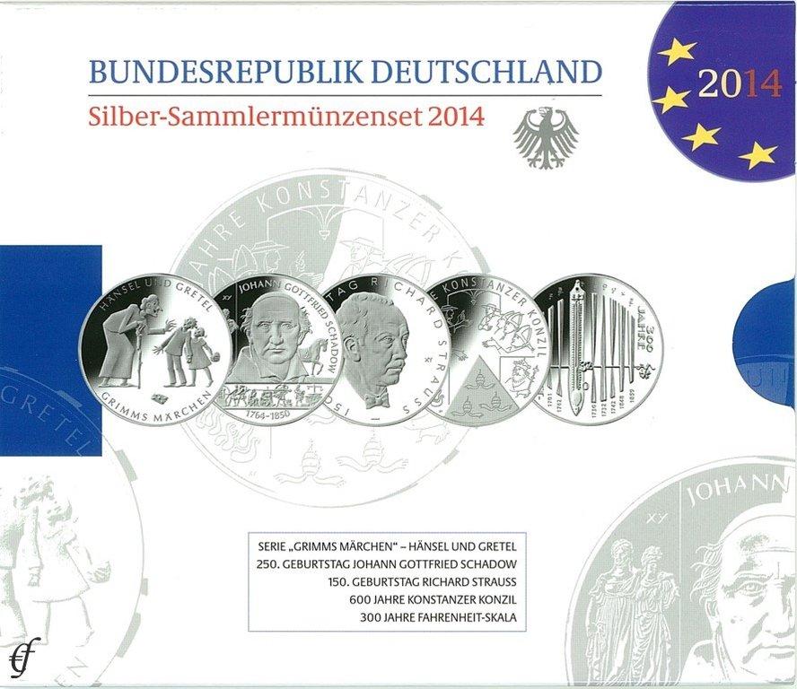 Deutschland Silber Gedenkmünzenset 2014 Pp Eurofischer