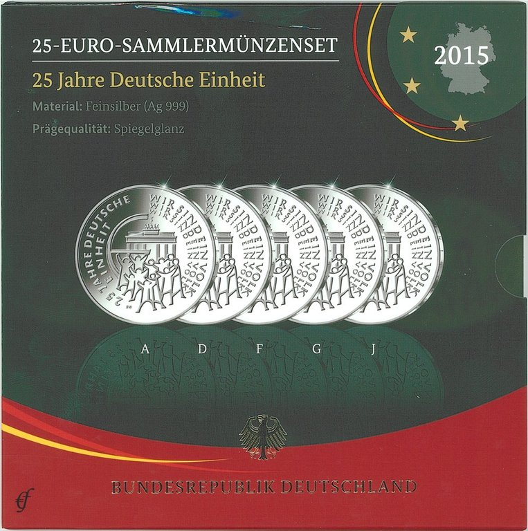 deutschland 25 euro silber gedenkm nzenset 2015 pp eurofischer. Black Bedroom Furniture Sets. Home Design Ideas