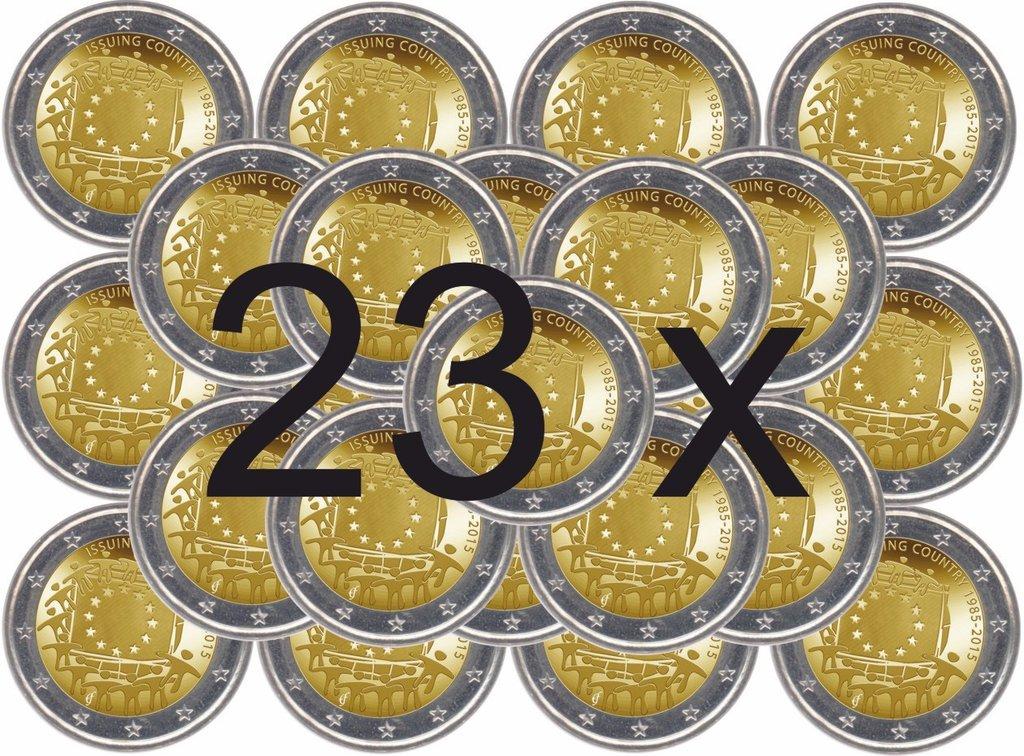 Alle 23 Gedenkmünzen 2 Euro 2015 Europaflagge Eurofischer
