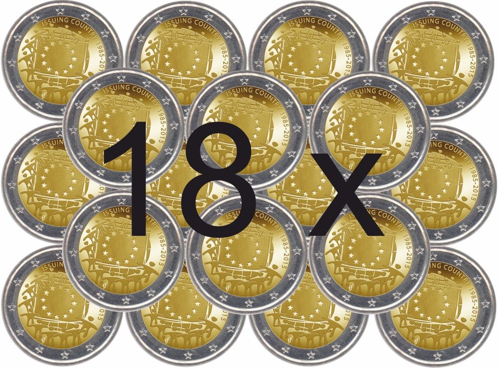 Alle 18 Gedenkmünzen 2 Euro 2015 Europaflagge Eurofischer