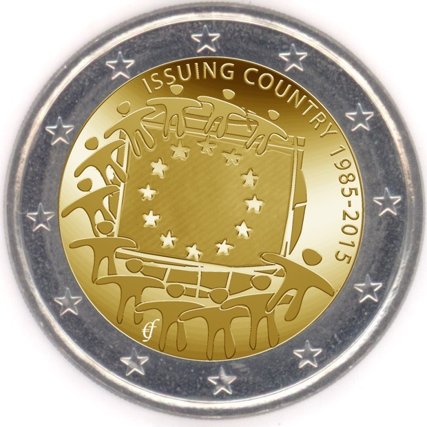 rolle 2 euro gedenkm nzen italien 2015 europaflagge eurofischer. Black Bedroom Furniture Sets. Home Design Ideas
