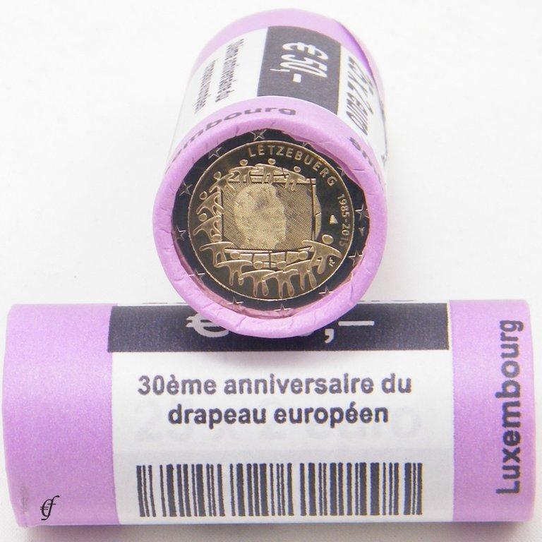 rolle 2 euro gedenkm nzen luxemburg 2015 europaflagge. Black Bedroom Furniture Sets. Home Design Ideas
