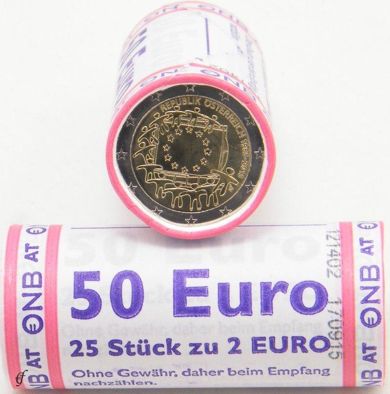 rolle 2 euro gedenkm nzen sterreich 2015 europaflagge. Black Bedroom Furniture Sets. Home Design Ideas