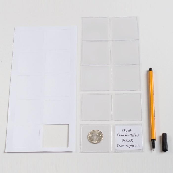 m nzentaschen f r 2 m nzen bis 42 mm durchmesser incl schriftkarten eurofischer. Black Bedroom Furniture Sets. Home Design Ideas
