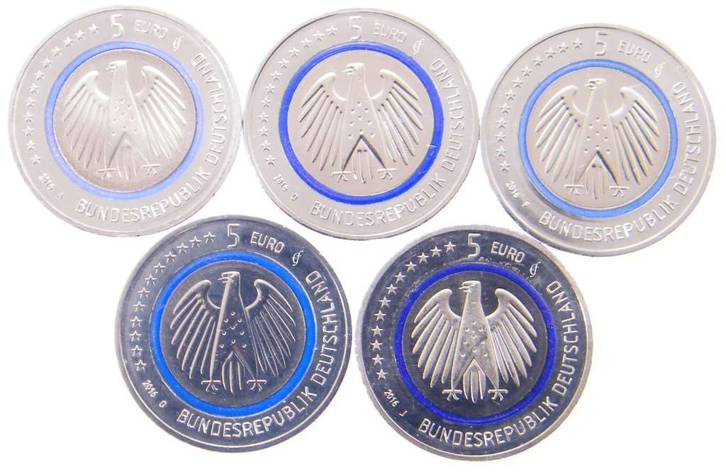 5 euro all 5 coins germany cc 2016 adfgj planet earth eurofischer. Black Bedroom Furniture Sets. Home Design Ideas