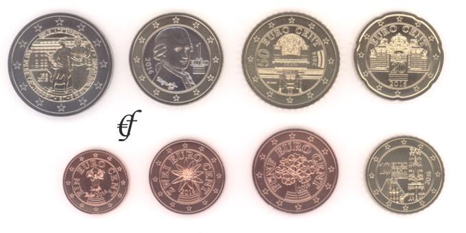 österreich Alle 8 Münzen 2016 Mit 2 Euro Gedenkmünze Nationalbank