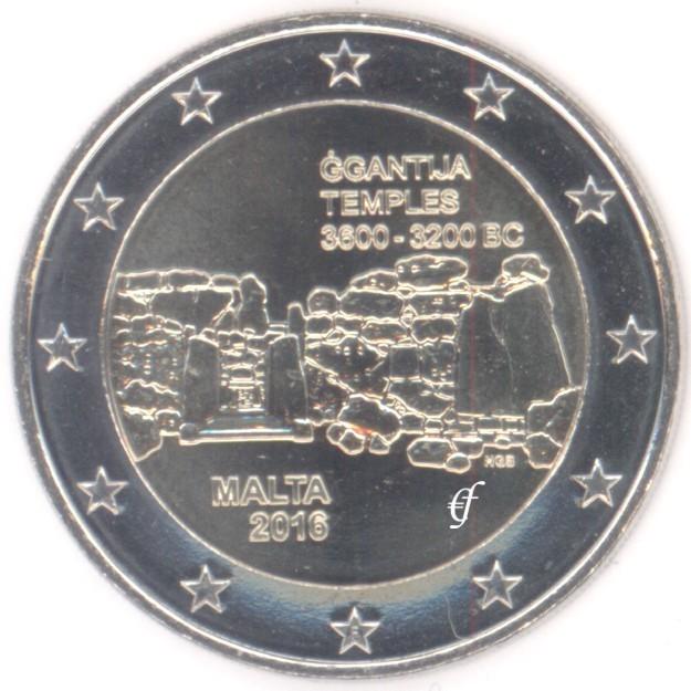 Malta 2 Euro Cc 2016 Ggantija Mintmark F Eurofischer