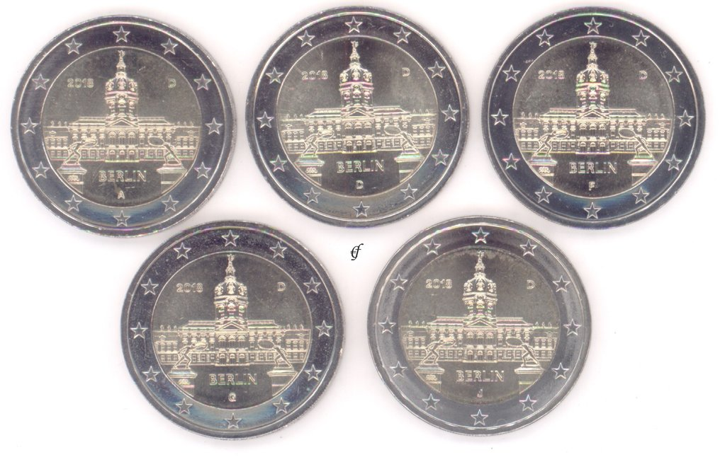 All 5 Coins Germany 2 Euro Cc 2018 Adfgj Charlottenburg Palace