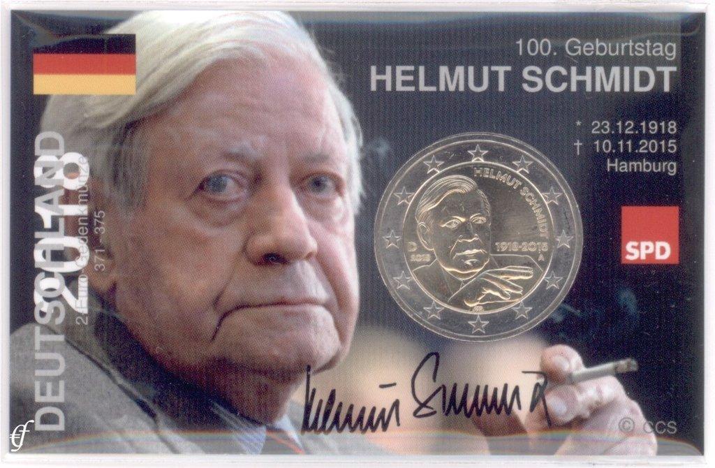 2 Euro Coincard Infokarte Deutschland 2018 Helmut Schmidt