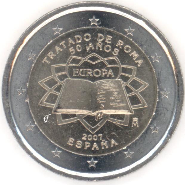 rolle 2 euro gedenkm nzen spanien 2007 r mische vertr ge. Black Bedroom Furniture Sets. Home Design Ideas
