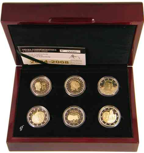 2 Euro Gedenkmünzen Luxemburg 2004 2008 Pp Set Eurofischer