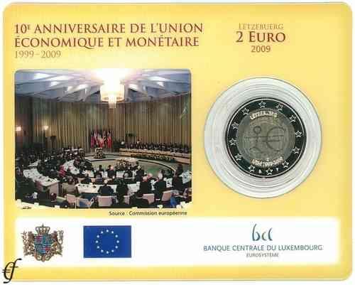 2 Euro Coincard Luxembourg 2009 Emu Eurofischer
