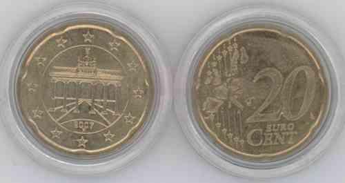 Fehlprägung Alte Wertseite 20 Cent F 2007 Eurofischer