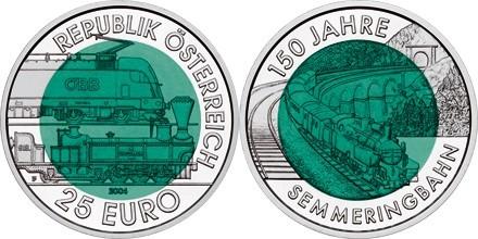 österreich 25 Euro Niob 2004 150 Jahre Semmeringbahn Eurofischer