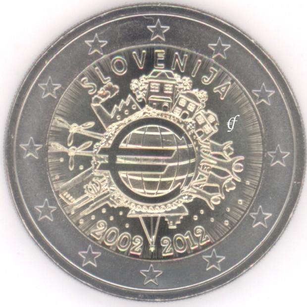rolle 2 euro gedenkm nzen slowenien 2012 10 jahre euro bargeld eurofischer. Black Bedroom Furniture Sets. Home Design Ideas