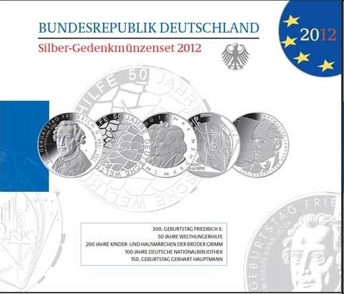 Deutschland Silber Gedenkmünzenset 2012 Pp Eurofischer