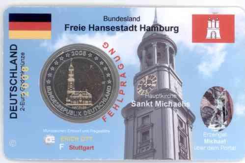 2 Euro Gedenkmünze Deutschland F 2008 Hamburger Michel Ccs Premium