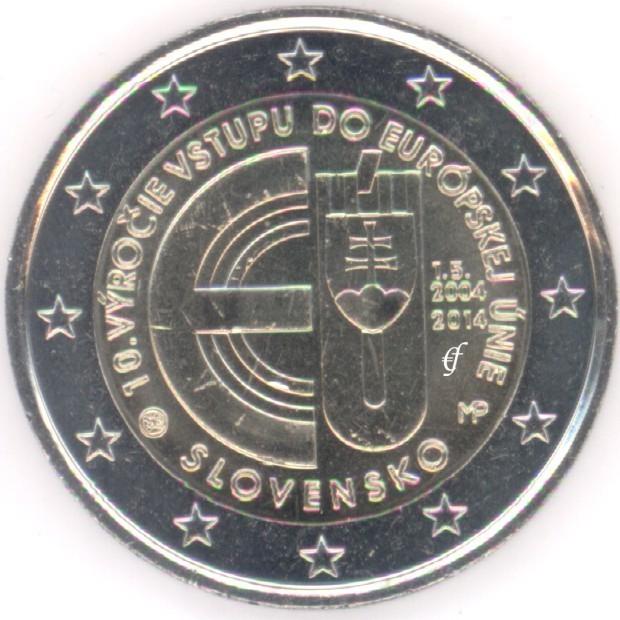 rolle 2 euro gedenkm nzen slowakei 2014 eu beitritt. Black Bedroom Furniture Sets. Home Design Ideas