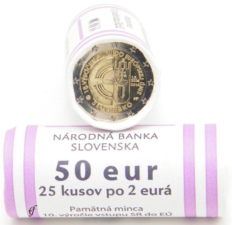 rolle 2 euro gedenkm nzen slowakei 2014 eu beitritt ebay. Black Bedroom Furniture Sets. Home Design Ideas