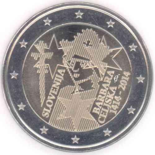2 Euro Gedenkmünze Slowenien 2014 Barbara Celjska Eurofischer