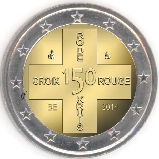 2 Euro Coincard Belgien 2014 Rotes Kreuz Fehlprägung It Eurofischer