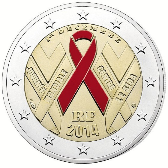 2 euro coincard frankreich 2014 welt aids tag eurofischer. Black Bedroom Furniture Sets. Home Design Ideas