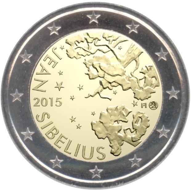 rolle 2 euro gedenkm nzen finnland 2015 sibelius eurofischer. Black Bedroom Furniture Sets. Home Design Ideas
