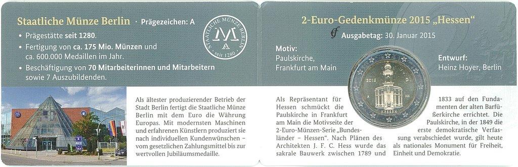2 Euro Coincard Deutschland 2015 A Berlin Eurofischer