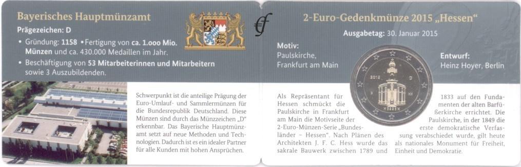 2 Euro Coincard Deutschland 2015 D München Eurofischer