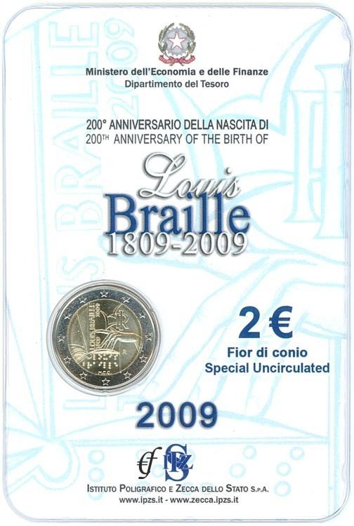 2 Euro Blister Coincard Italien 2009 Louis Braille Eurofischer