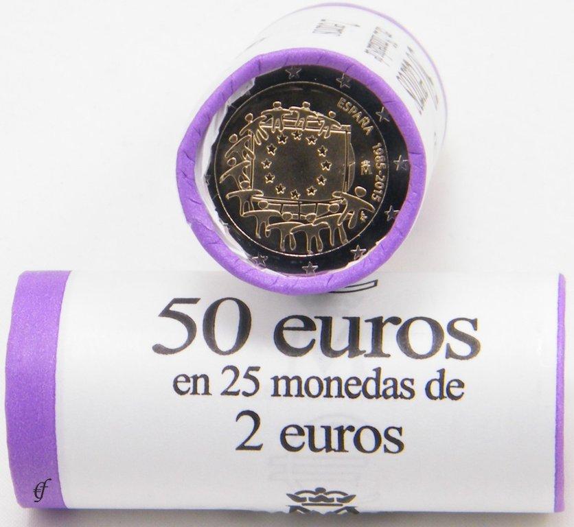 rolle 2 euro gedenkm nzen spanien 2015 europaflagge. Black Bedroom Furniture Sets. Home Design Ideas