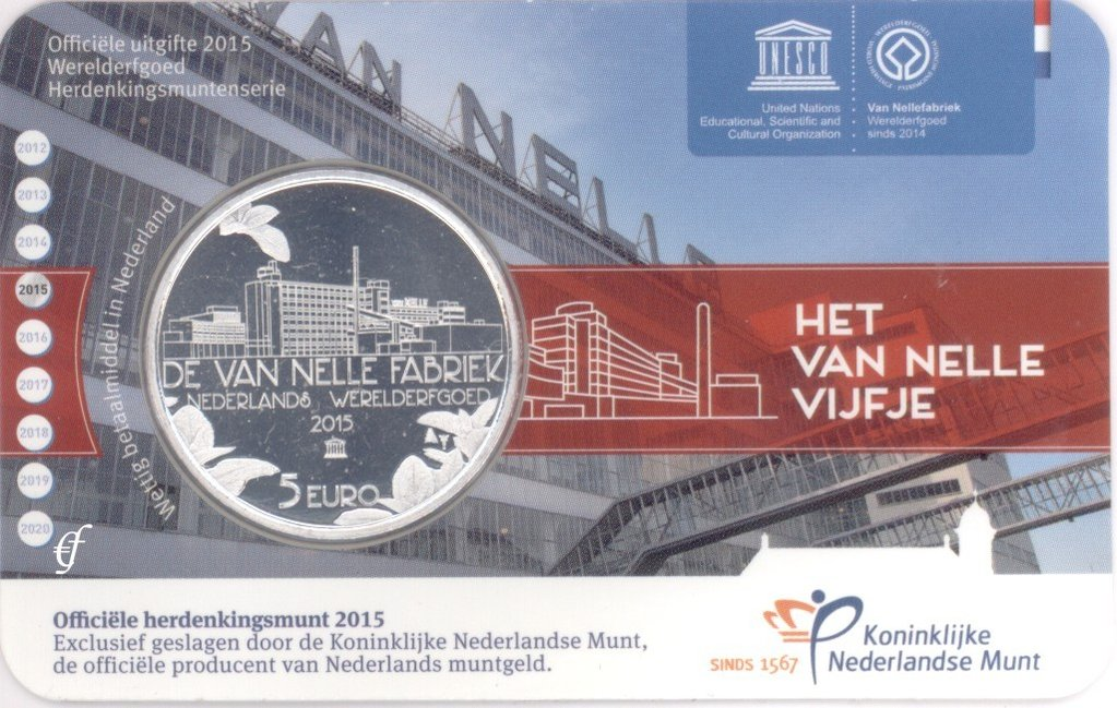 niederlande 5 euro 2015 van nelle fabrik in coincard. Black Bedroom Furniture Sets. Home Design Ideas