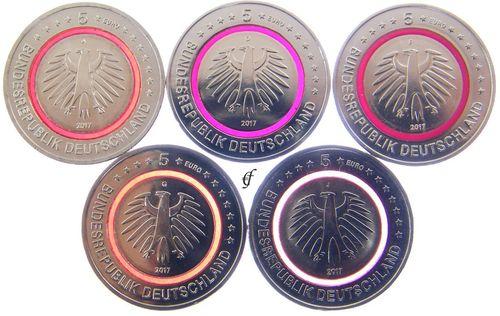 5 Euro All Coins Germany CC 2017 Tropical Zone ADFGJ
