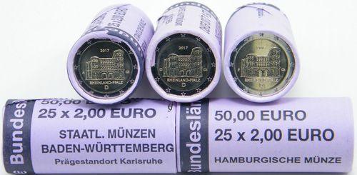 All 5 Rolls 2 Euro Cc Germany 2017 Adfgj Porta Nigra Eurofischer
